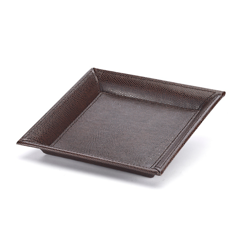 Faux Leather Drink Tray, Brown