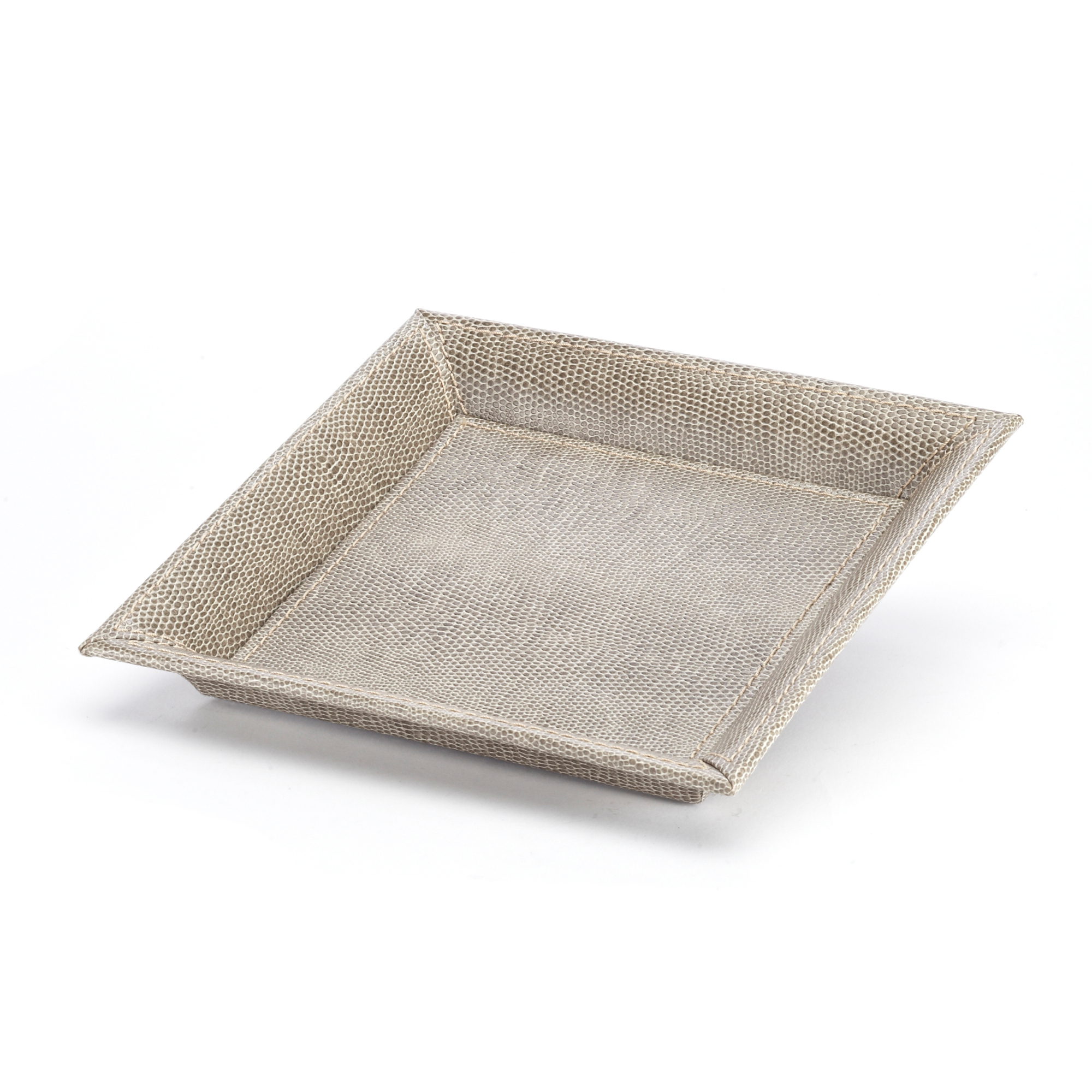 Faux Leather Drink Tray, Gray