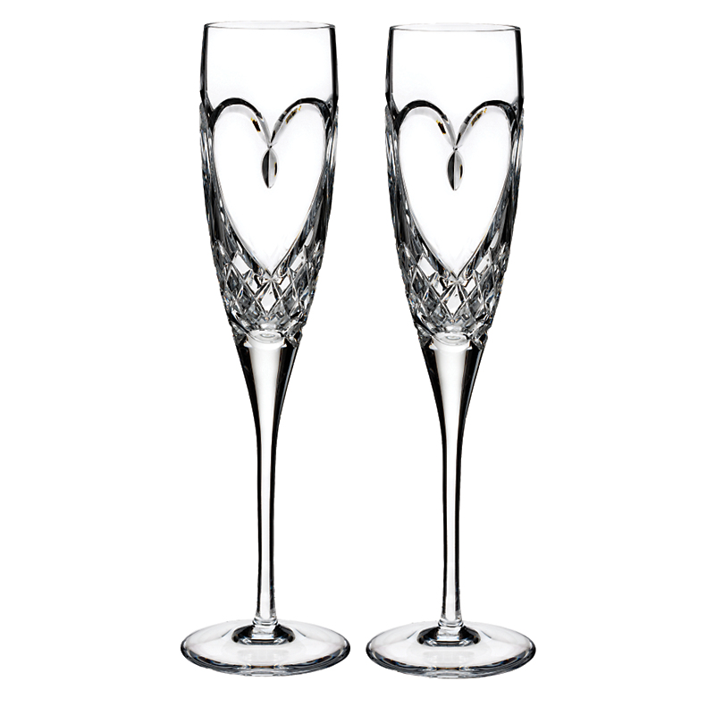 Waterford Heart Love Flutes, Set of 2