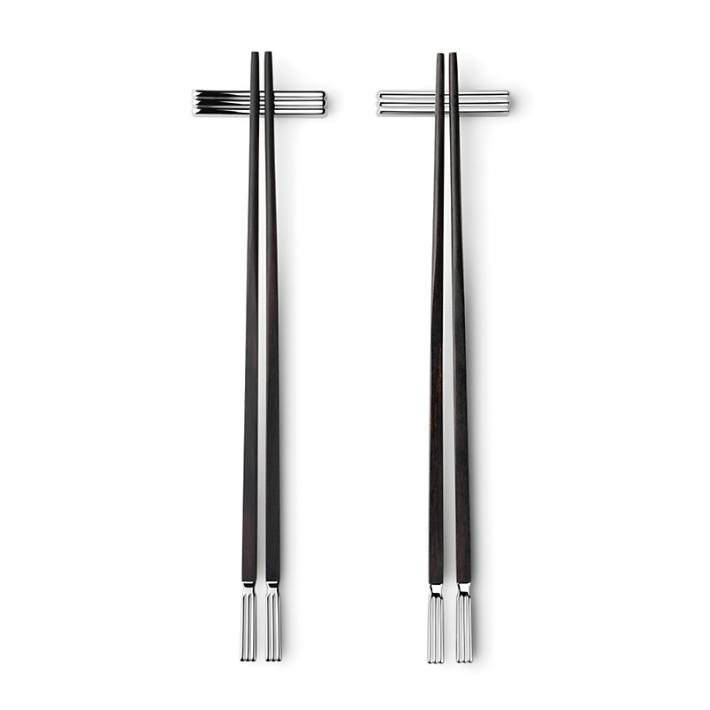 Georg Jensen Bernadotte Stainless Chopsticks with Ebony Rests, Set of 2