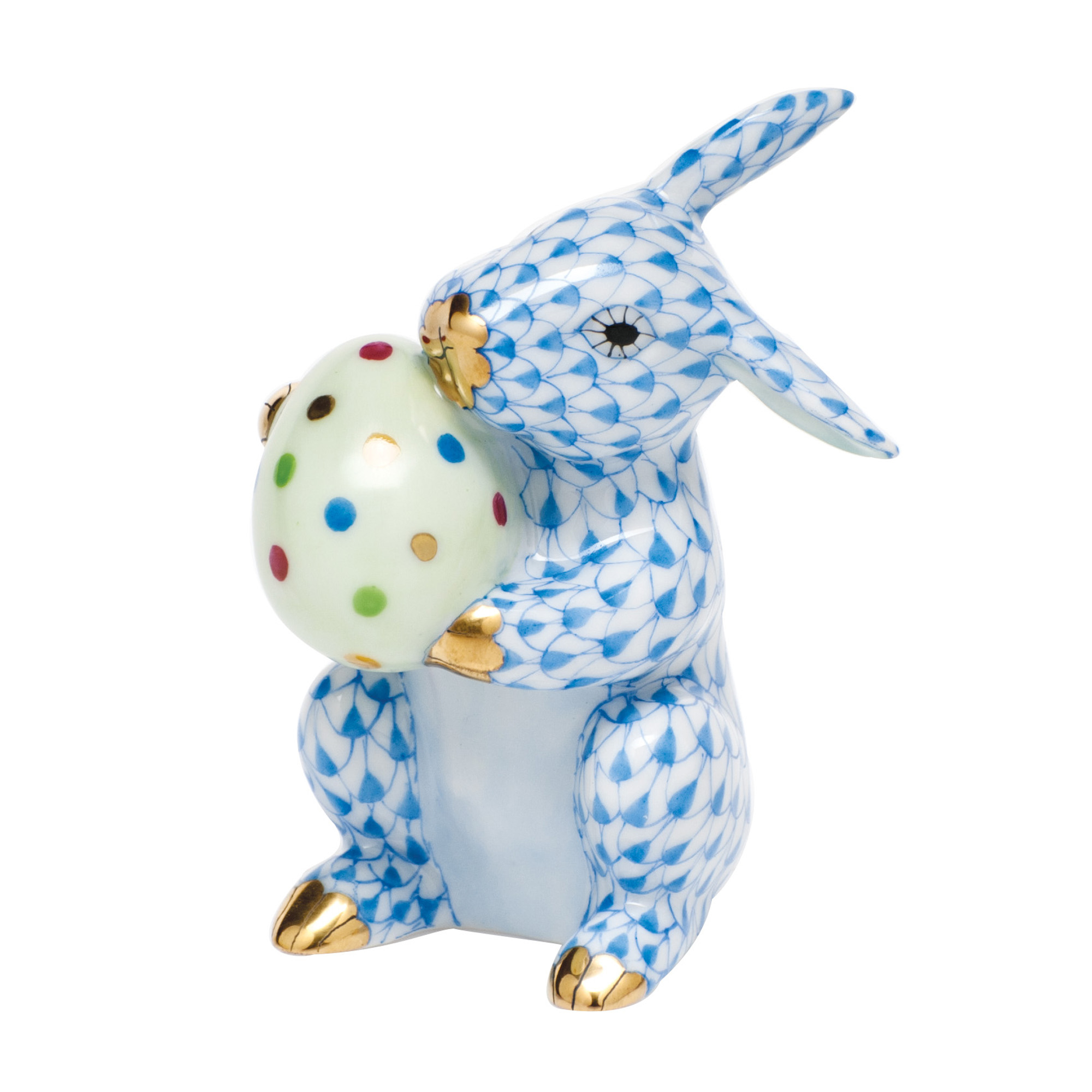 Herend Easter Bunny With Egg, Blue