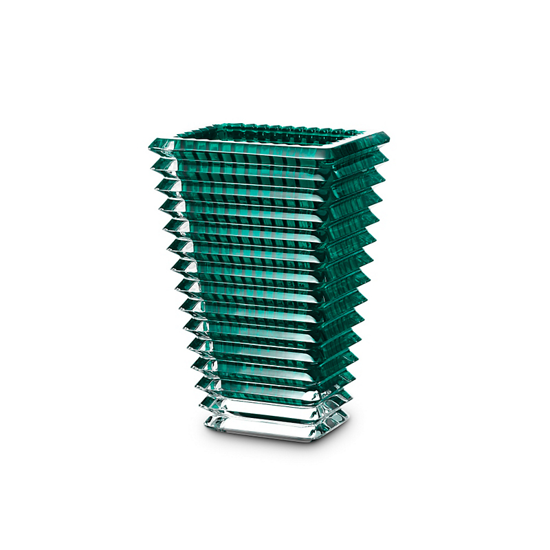 Baccarat Rectangular Green Eye Vase, Small