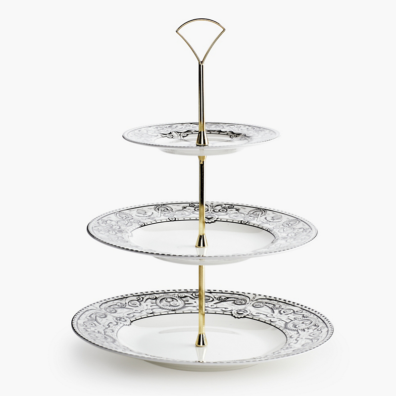 Royal Crown Derby Steampunk Three-Tier Cake Stand, Black/White