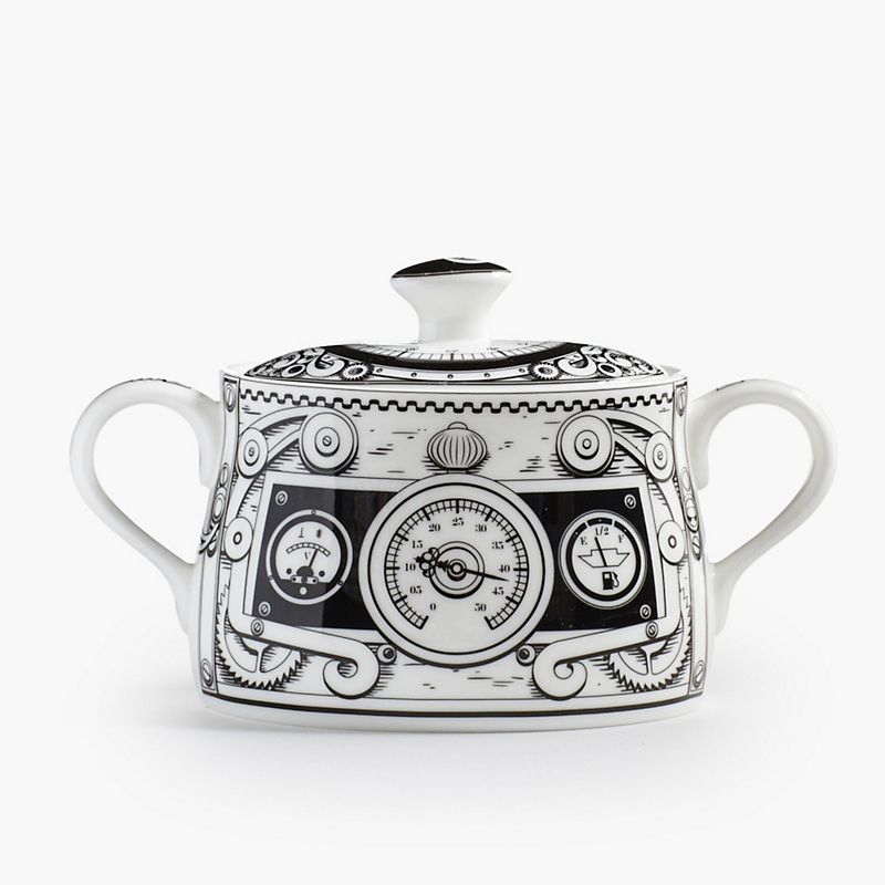 Royal Crown Derby Steampunk Covered Sugar Bowl, White/Black