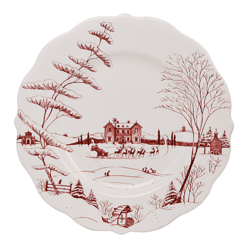 Juliska Country Estate Scallop Dinner Plate, Ruby