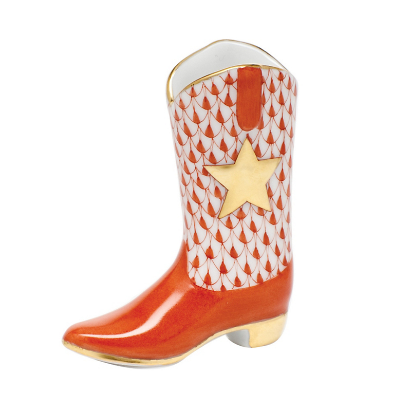 Herend Cowboy Boot, Rust