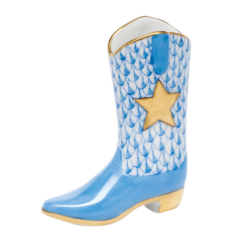 Herend Cowboy Boot, Blue