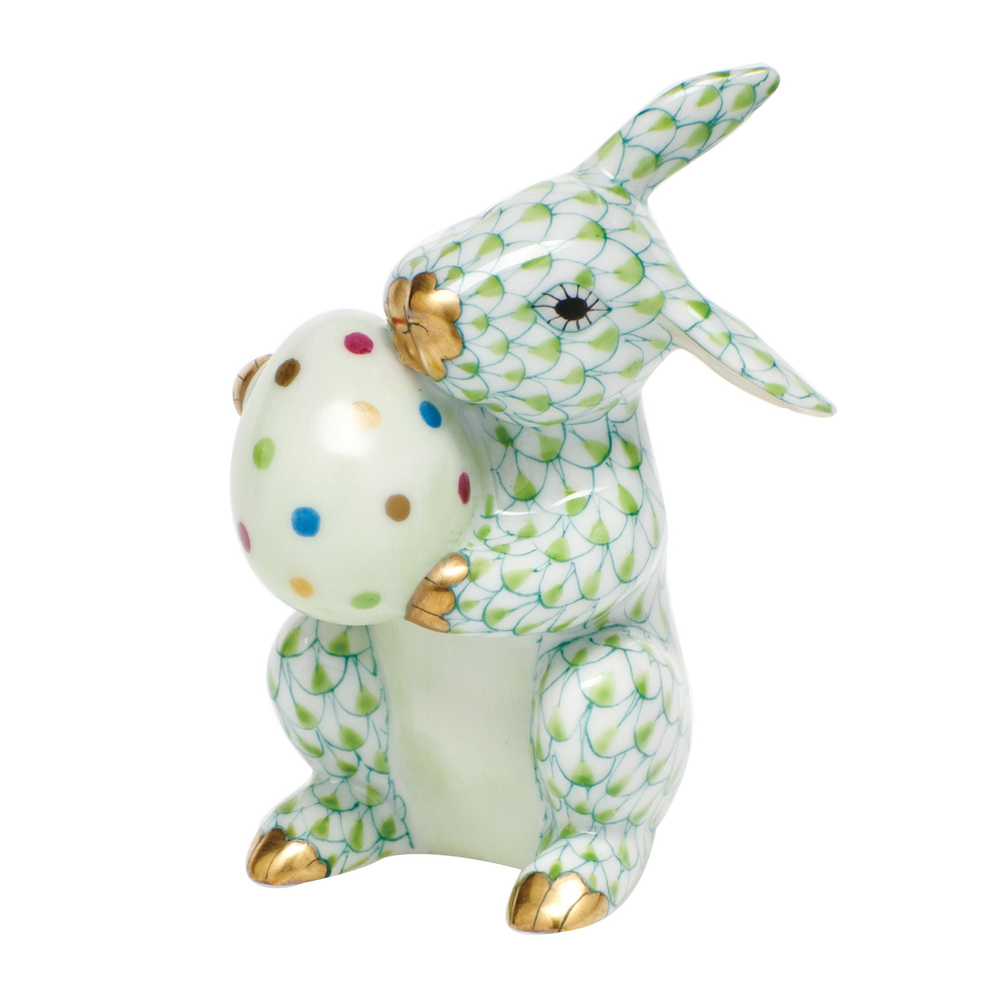 Herend Easter Bunny With Egg, Key Lime