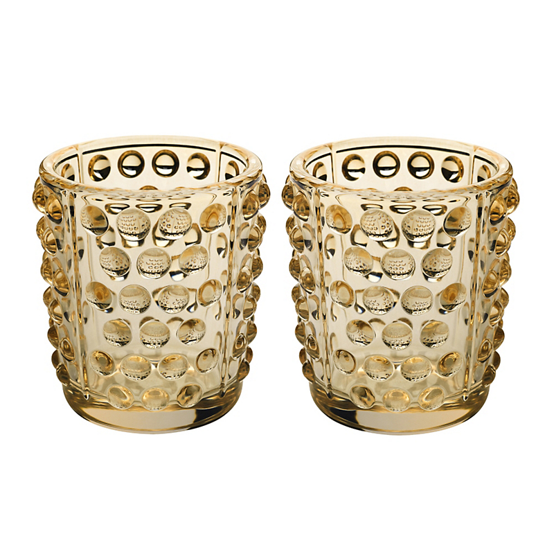 Lalique Mossi Votives, Set of 2 Goldluster