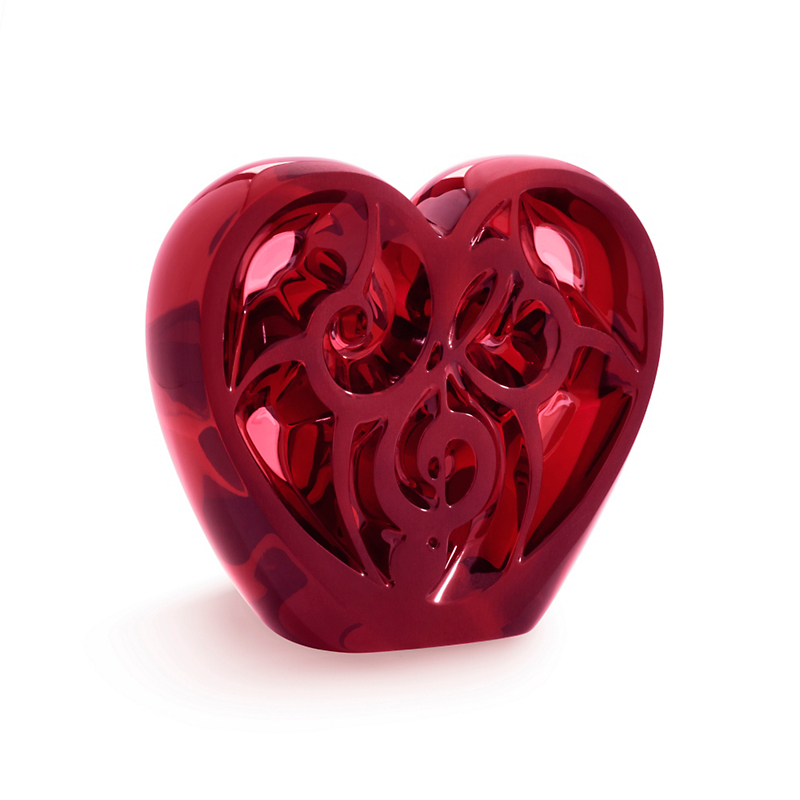 Lalique 'Music Is Love' Heart Sculpture, Red