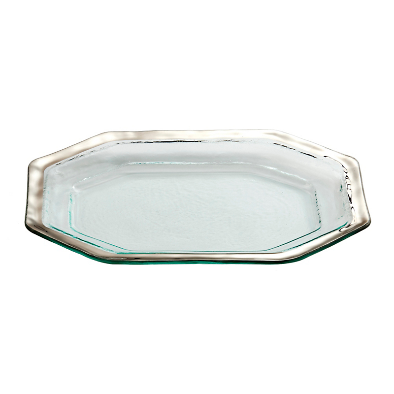 Annieglass Roman Antique Steak Platter, Small Platinum