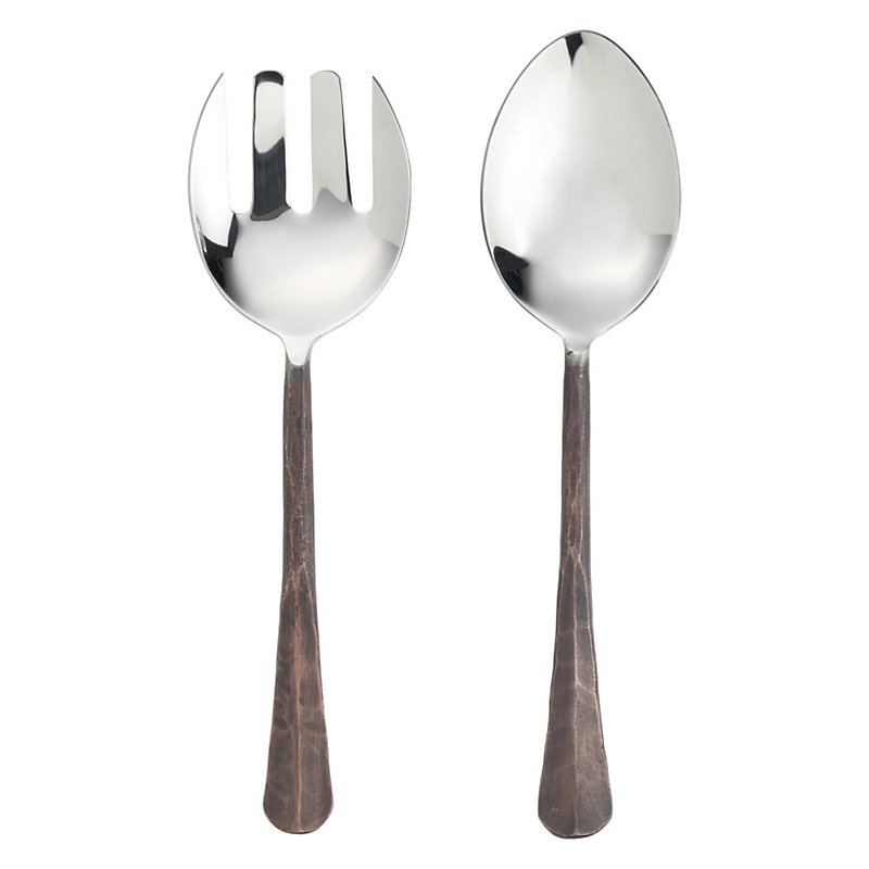 Simon Pearce Woodbury 2-Piece Stainless Steel Serving Set, Copper