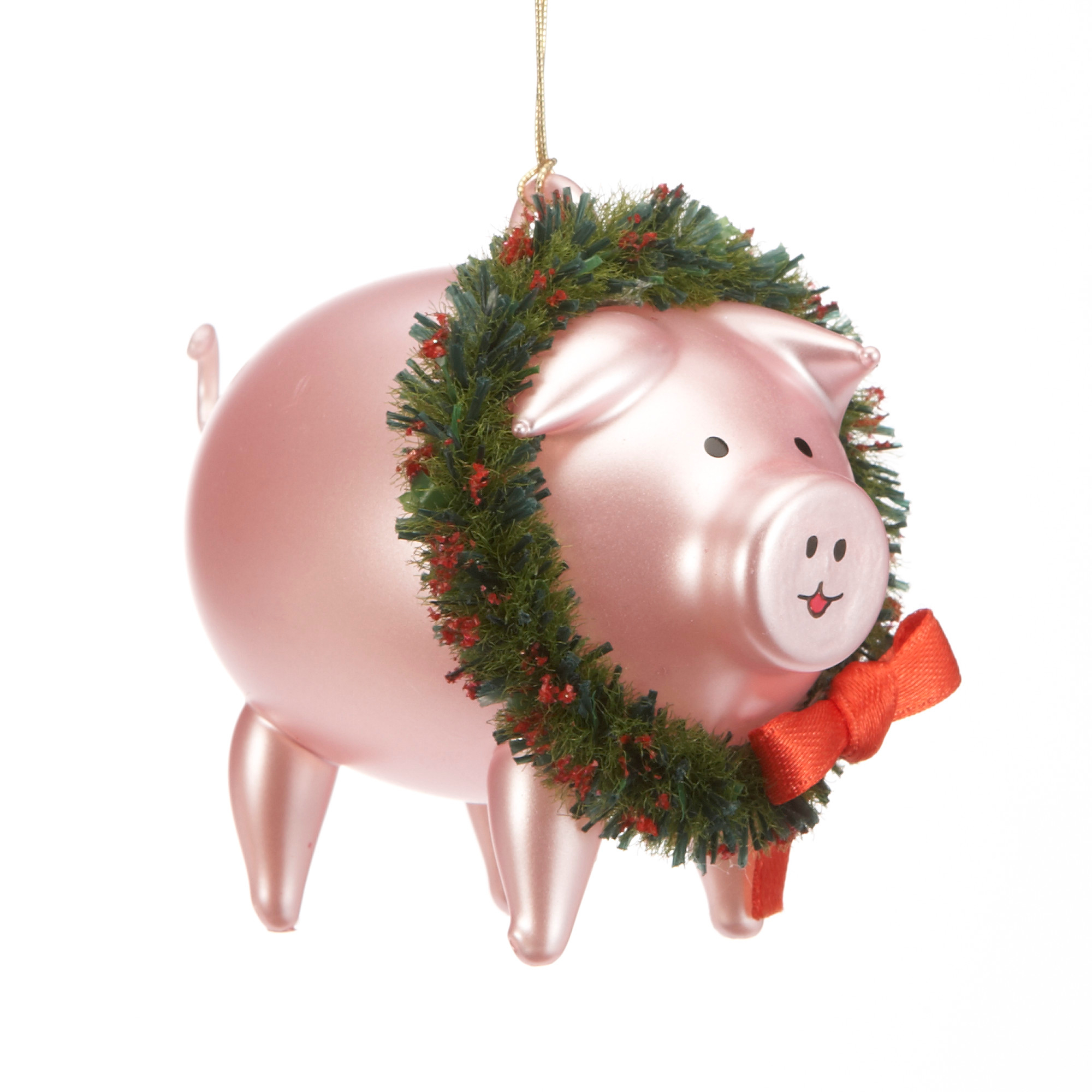 Pig with Wreath Christmas Ornament