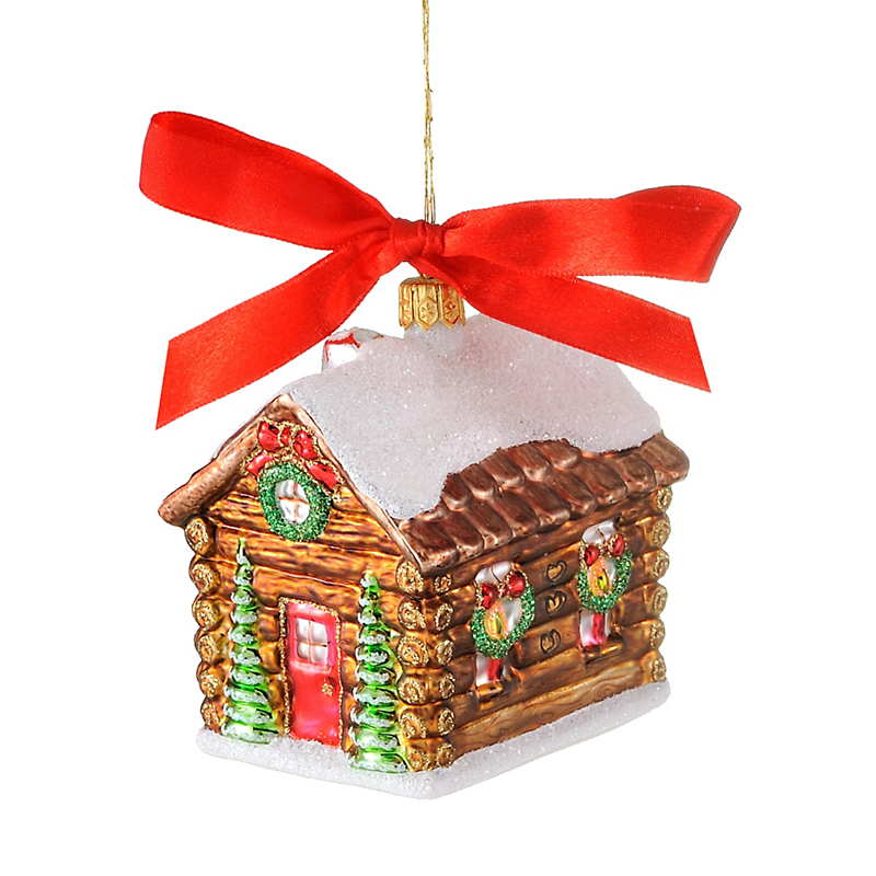 Jingle Nog Jingle Log Cabin Christmas Ornament