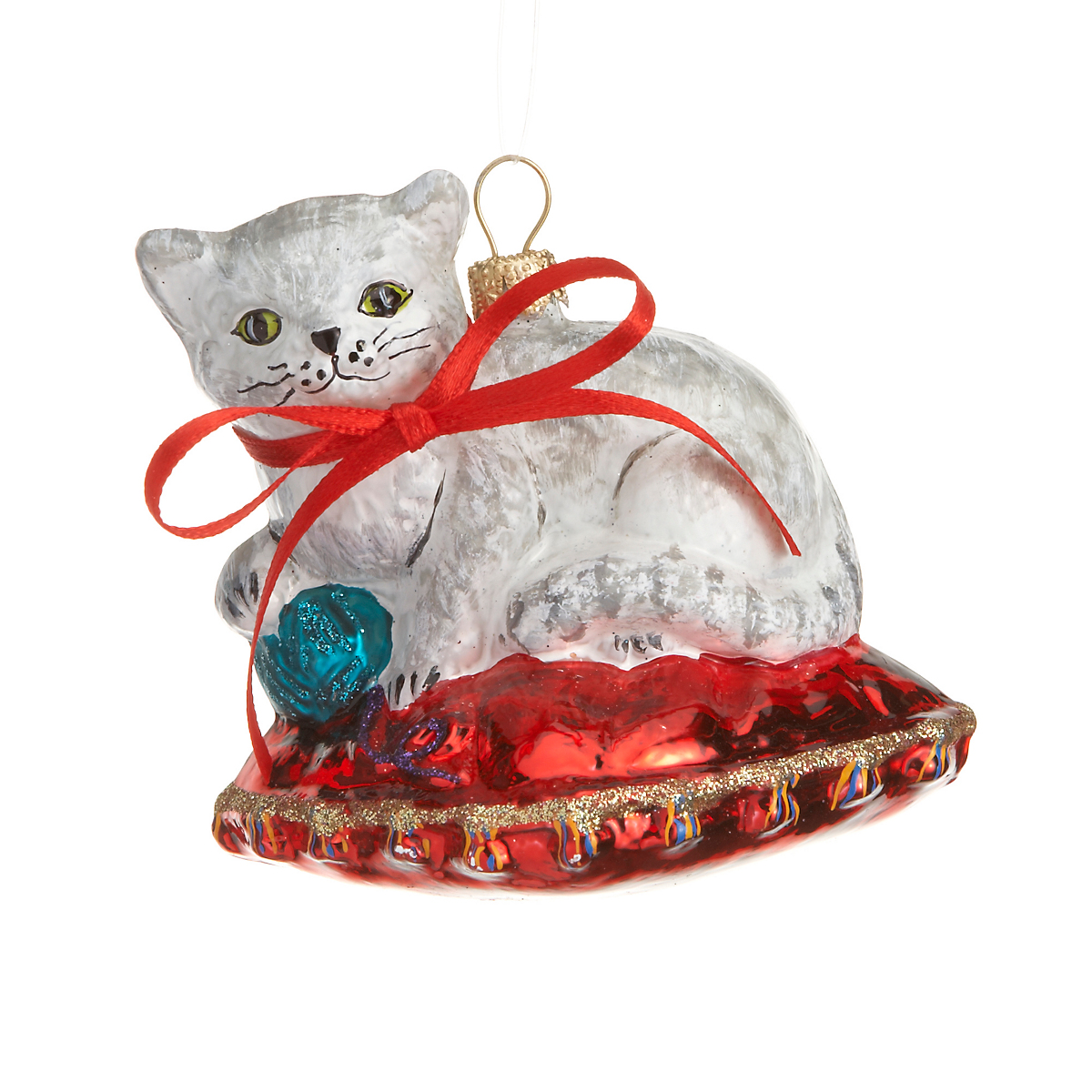 Cat on pillow christmas ornament gump 39 s for Cat christmas ornaments craft