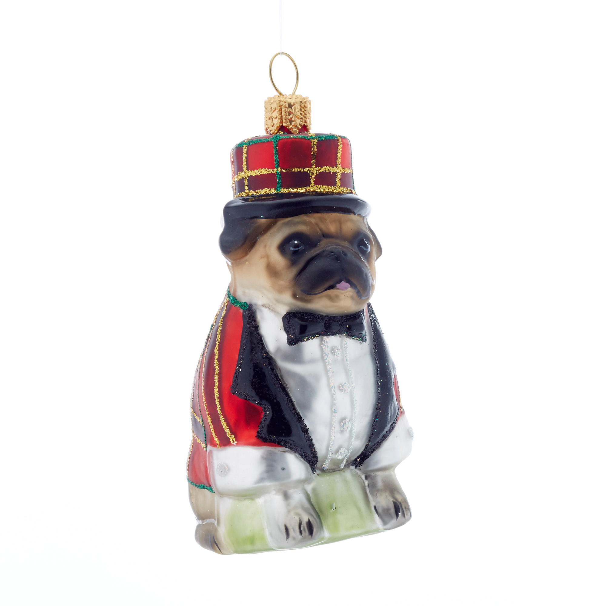Pug in Plaid Christmas Ornament