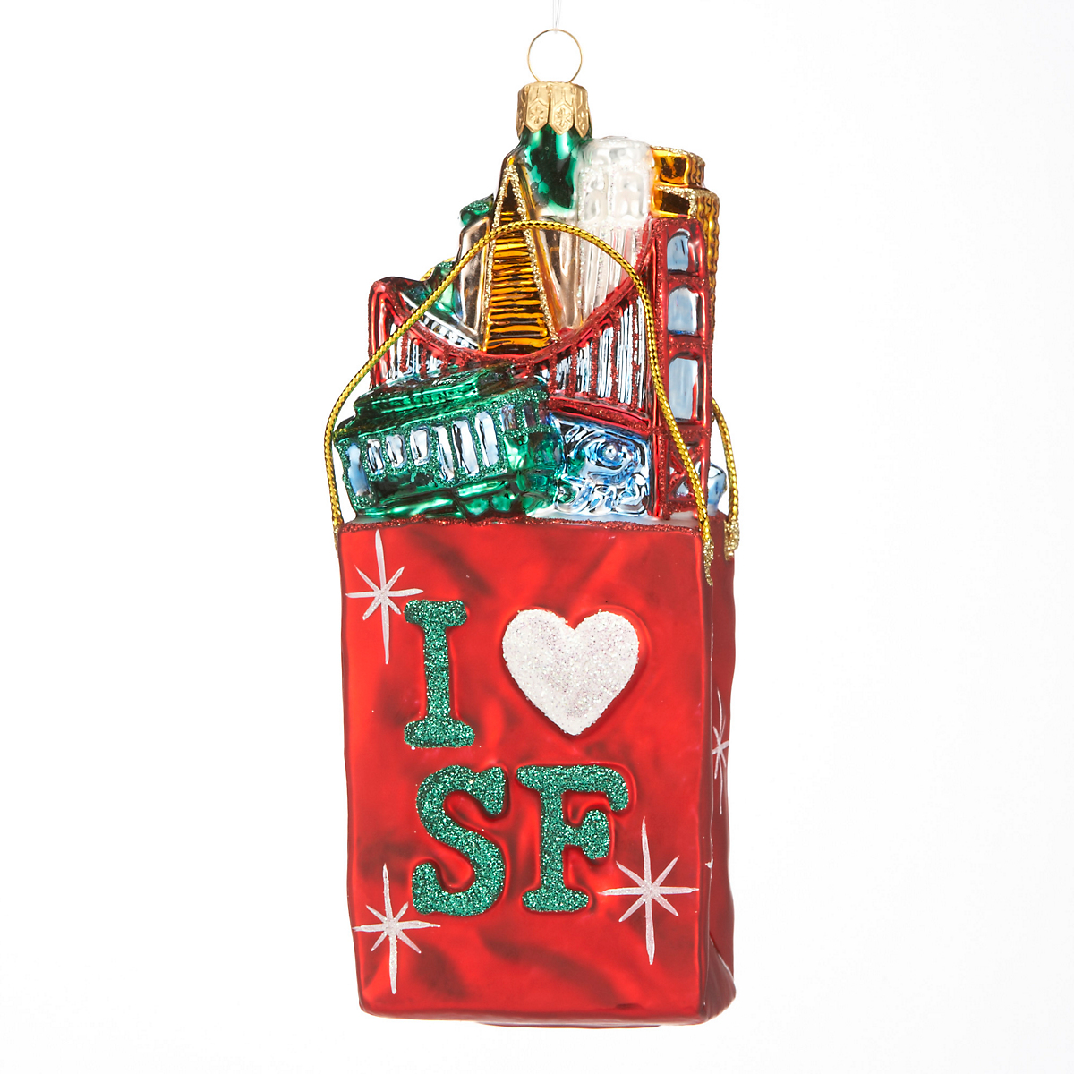 SF Cityscape Shopping Bag Christmas Ornament