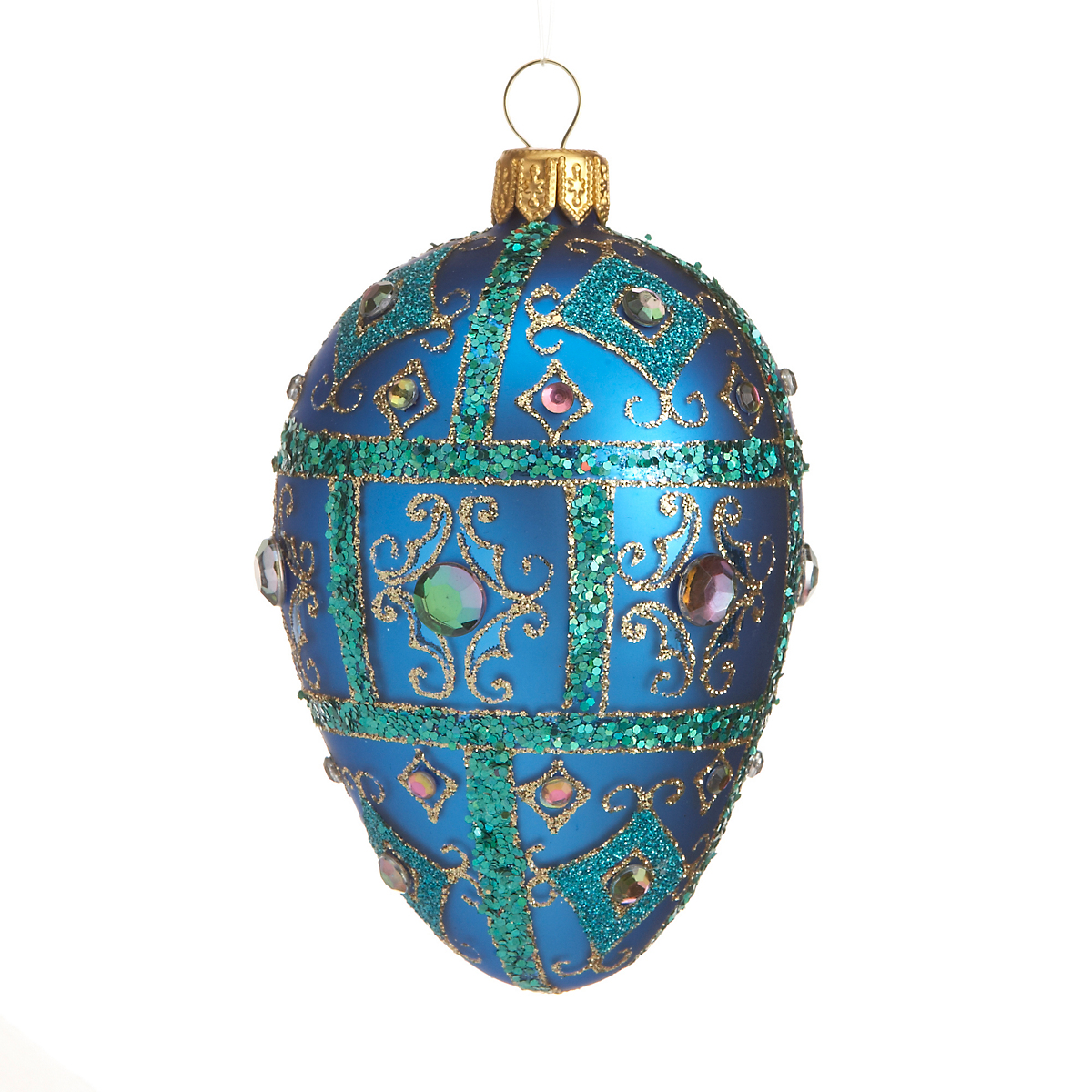 Blue Egg with Green Glitter Christmas Ornament