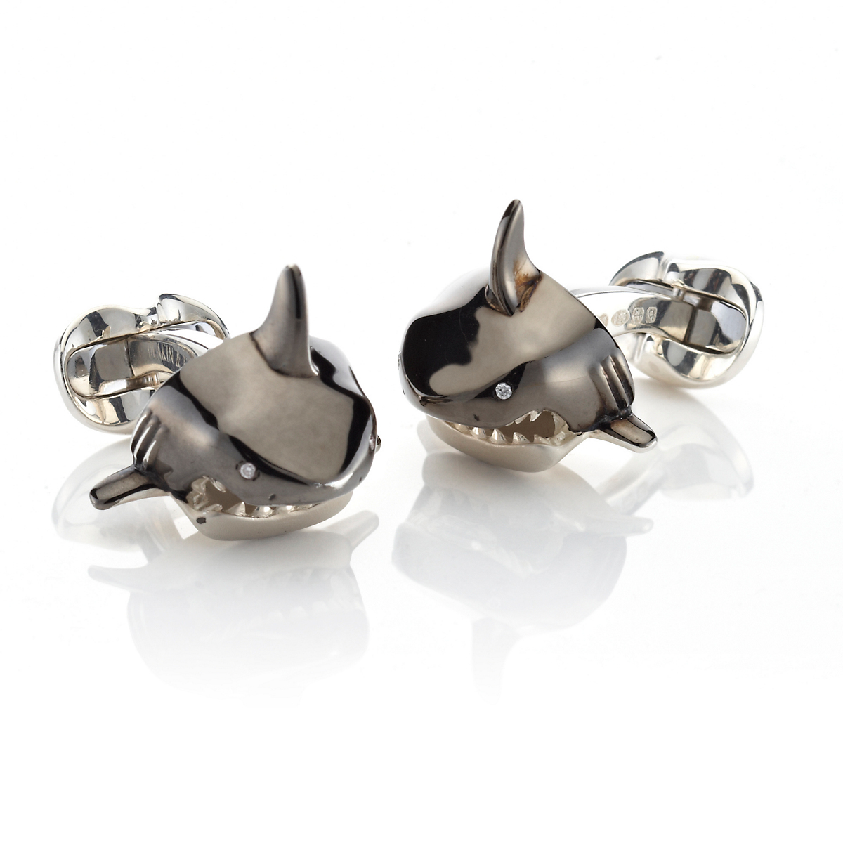 Shark Sterling Silver, Enamel And Diamond Cufflinks Deakin & Francis