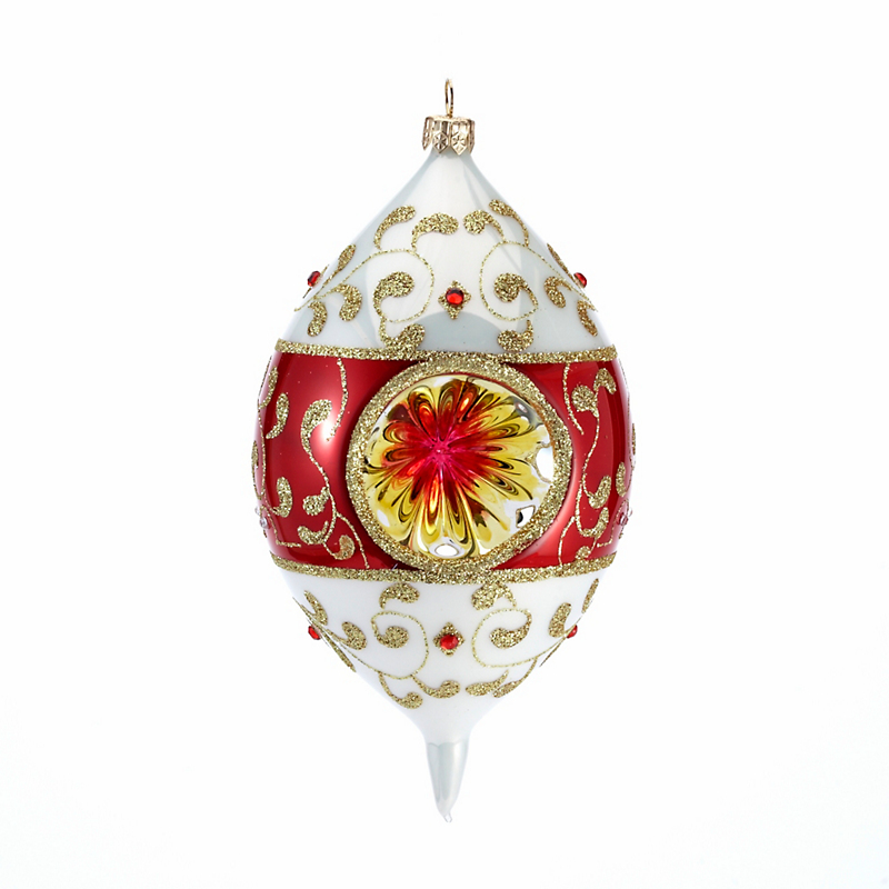 Reflector with Gold Swirls Christmas Ornament