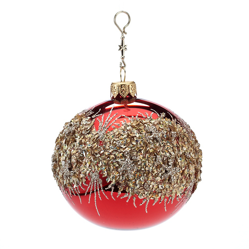Red & Gold Glitter Ball Christmas Ornament