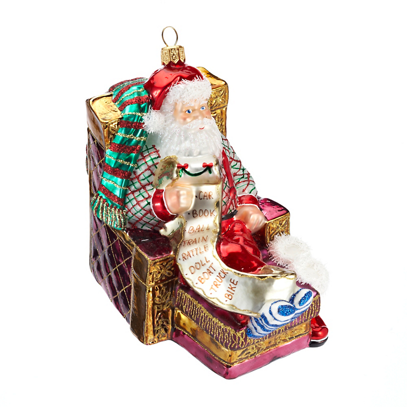 Santa in Recliner Christmas Ornament