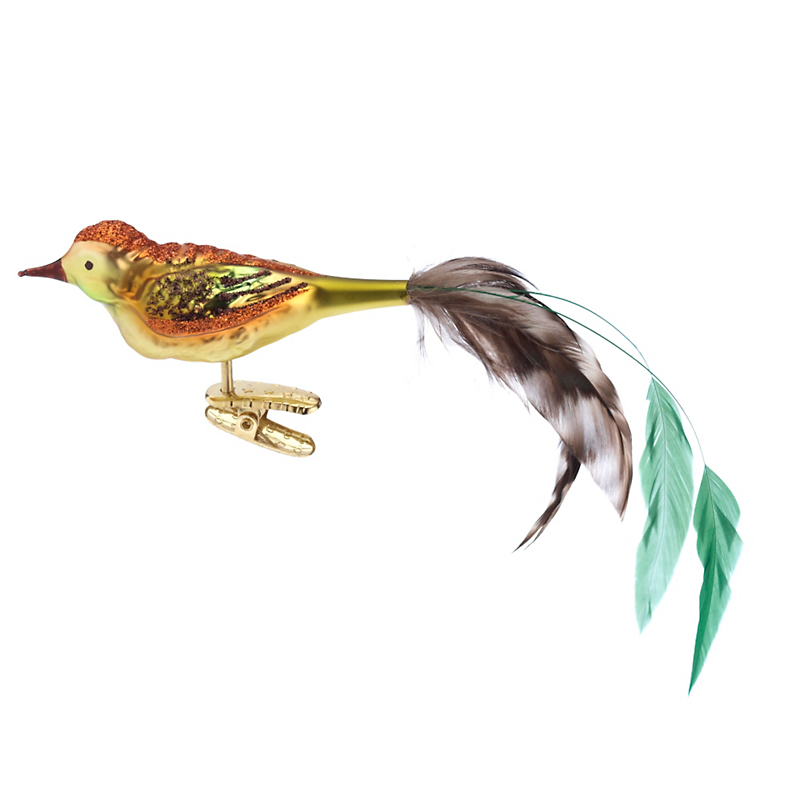 Amber Bird with Long Tail Christmas Ornament