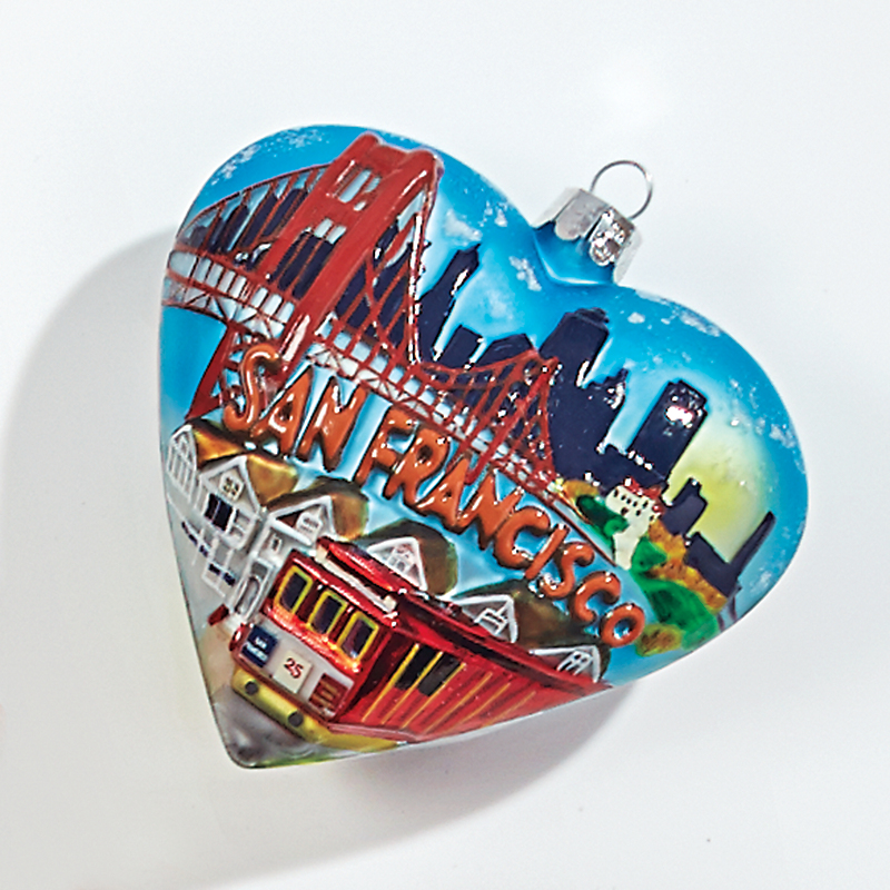 San Francisco Heart Christmas Ornament