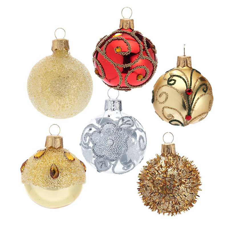 Round Glass Christmas Ornaments, Set of 6