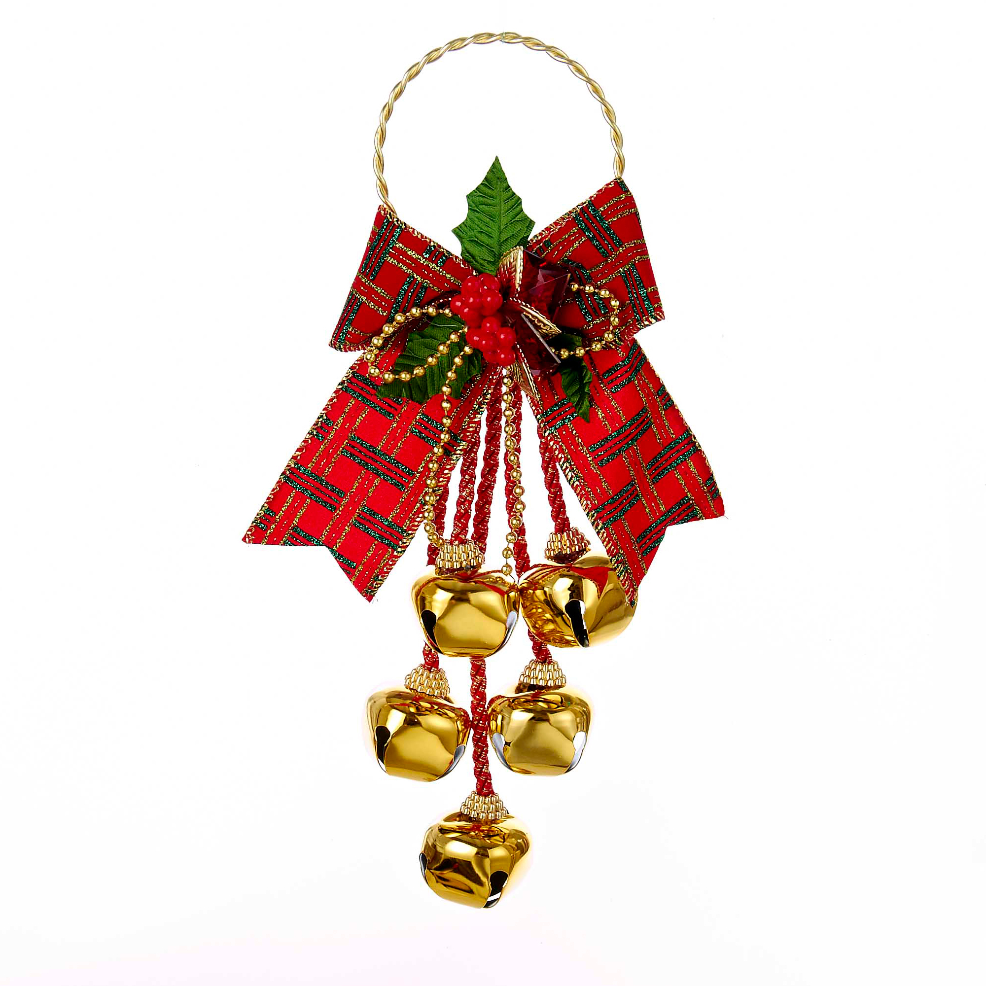 Red Bow with Bells Door Hanger