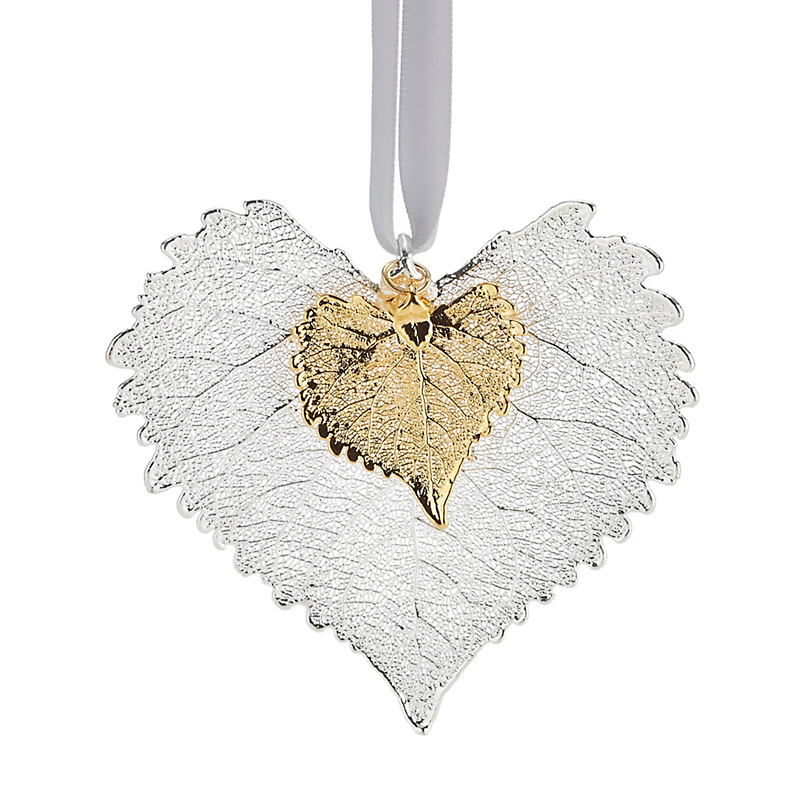 Still Life Double Cottonwood Silver Gold Christmas Ornament