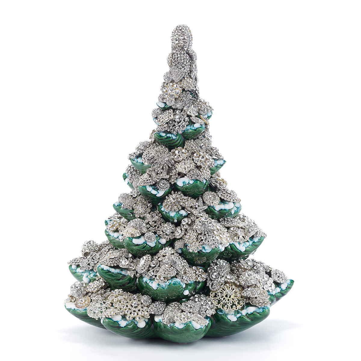 "Eric Cortina Frosted 15"" Jeweled Tree"