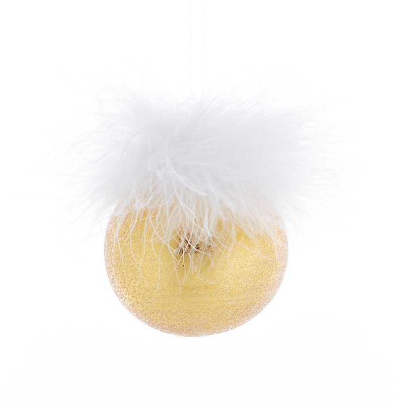Feathered Ball Christmas Ornament