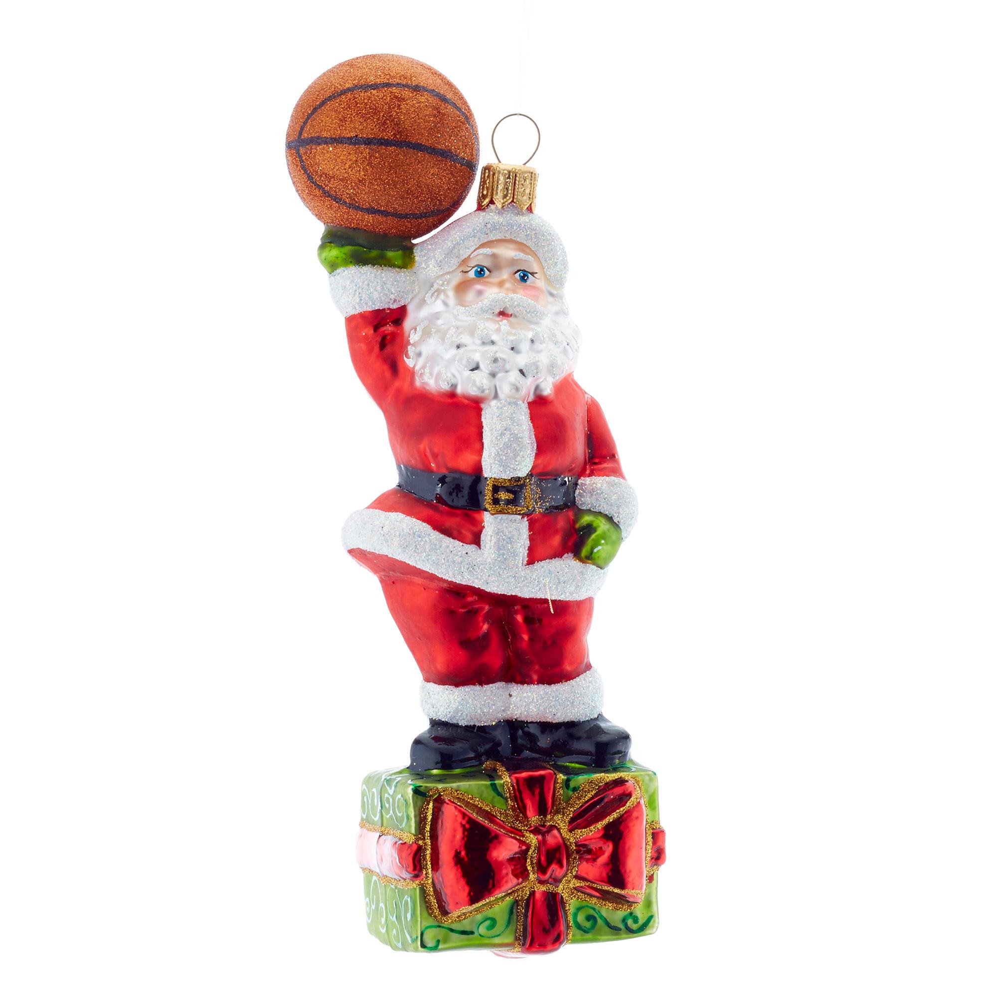 Santa with Basketball Christmas Ornament | Gump\'s