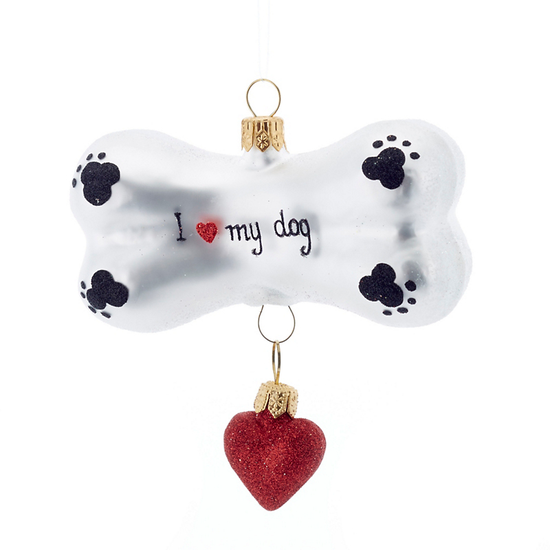 Dog Bone with Heart Christmas Ornament