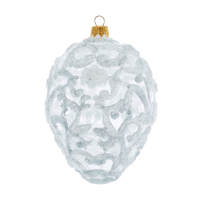 White Flourish Egg Ornament