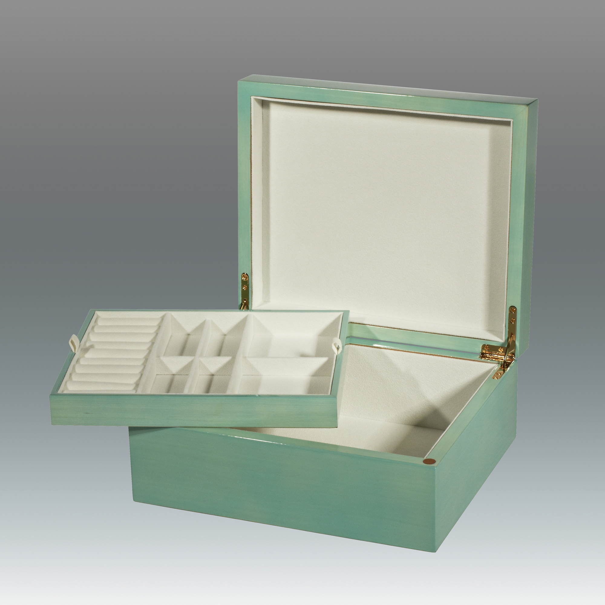 Turquoise Jewelry Box with Tray