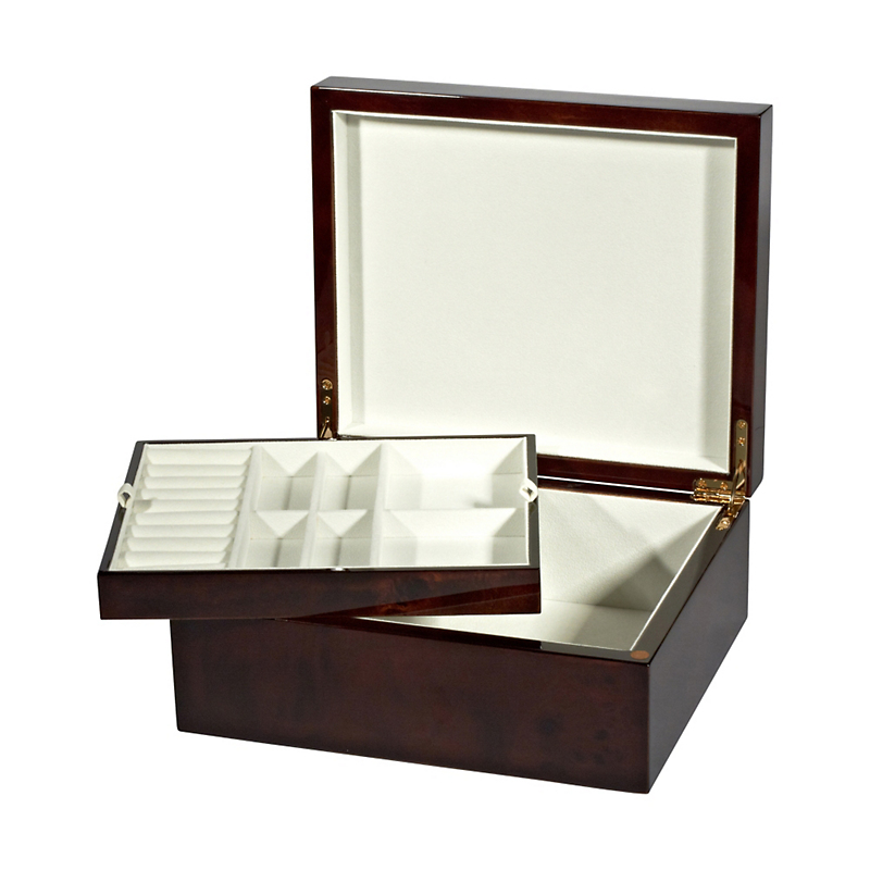 Dark Burlwood Jewelry Box with Tray