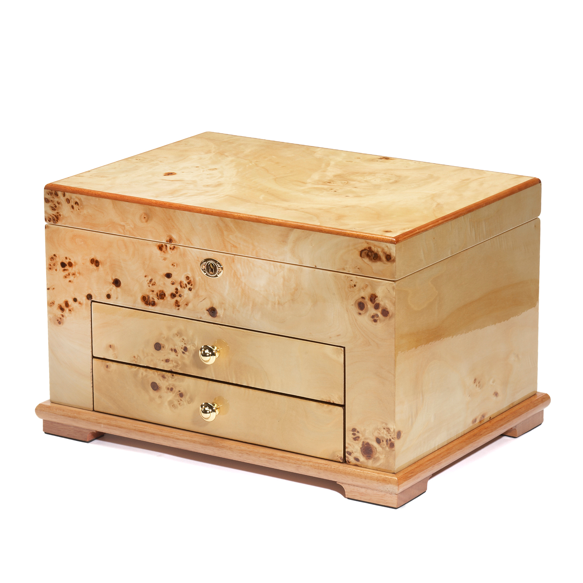Burlwood 2-Drawer Jewelry Box