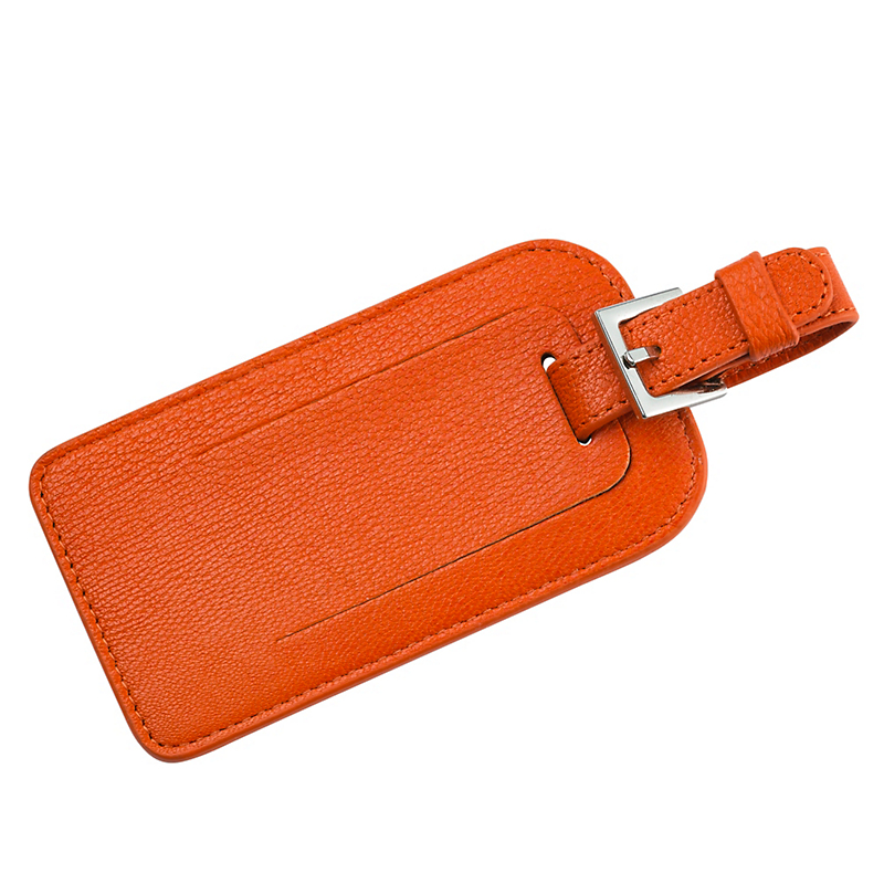 Leather Luggage Tag, Orange