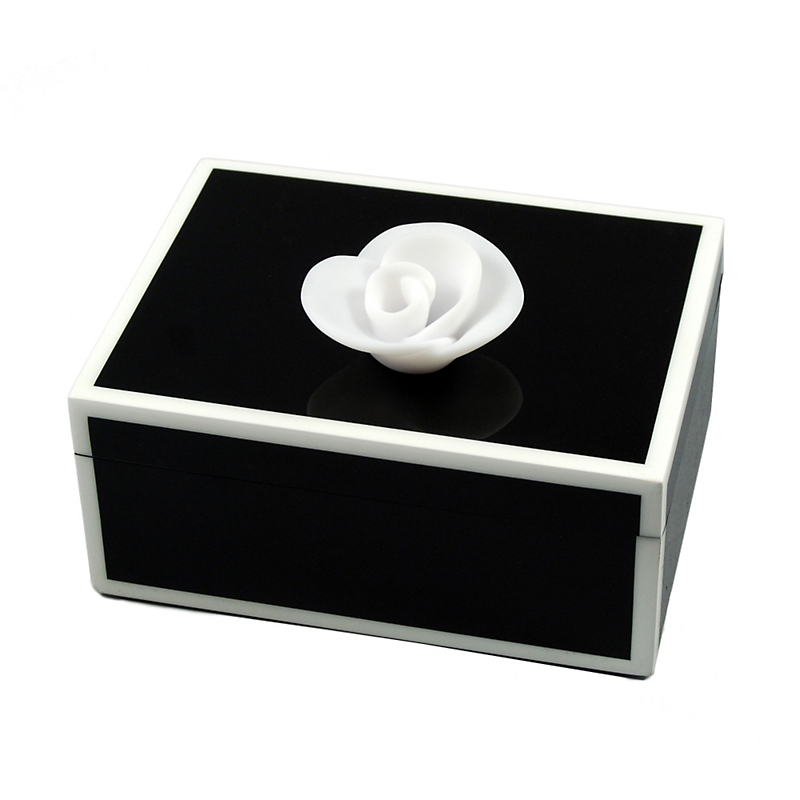 Black Box with White Flower, Medium