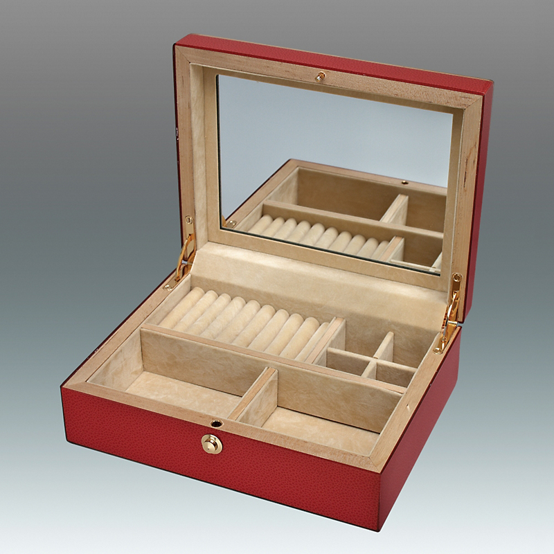 Faux Shagreen Jewelry Box, Red