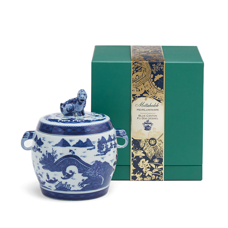 Mottahedeh Blue Canton Fu Dog Candle, Air de Bergamia