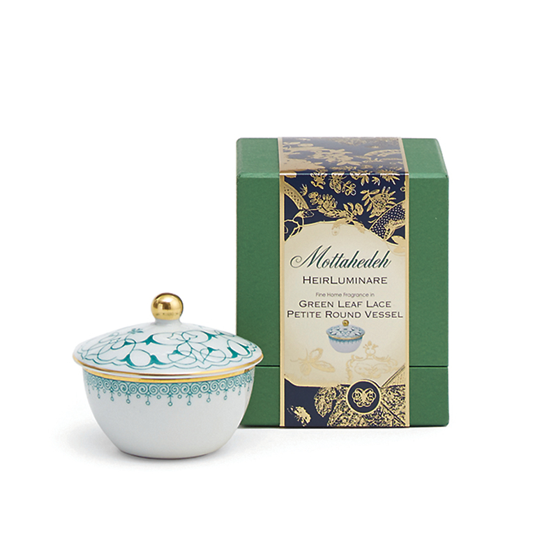 Mottahedeh Green Apple Lace Petite Candle, Green Jasmine Tea