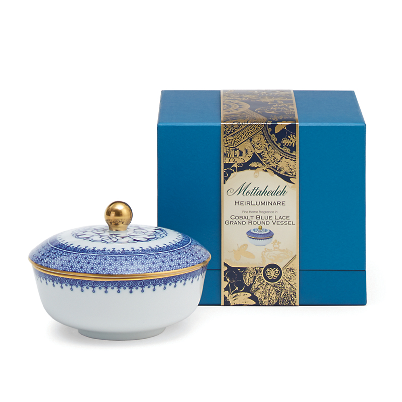 Mottahedeh Cobalt Blue Lace Candles, Rose Ginger Mandarin Flower