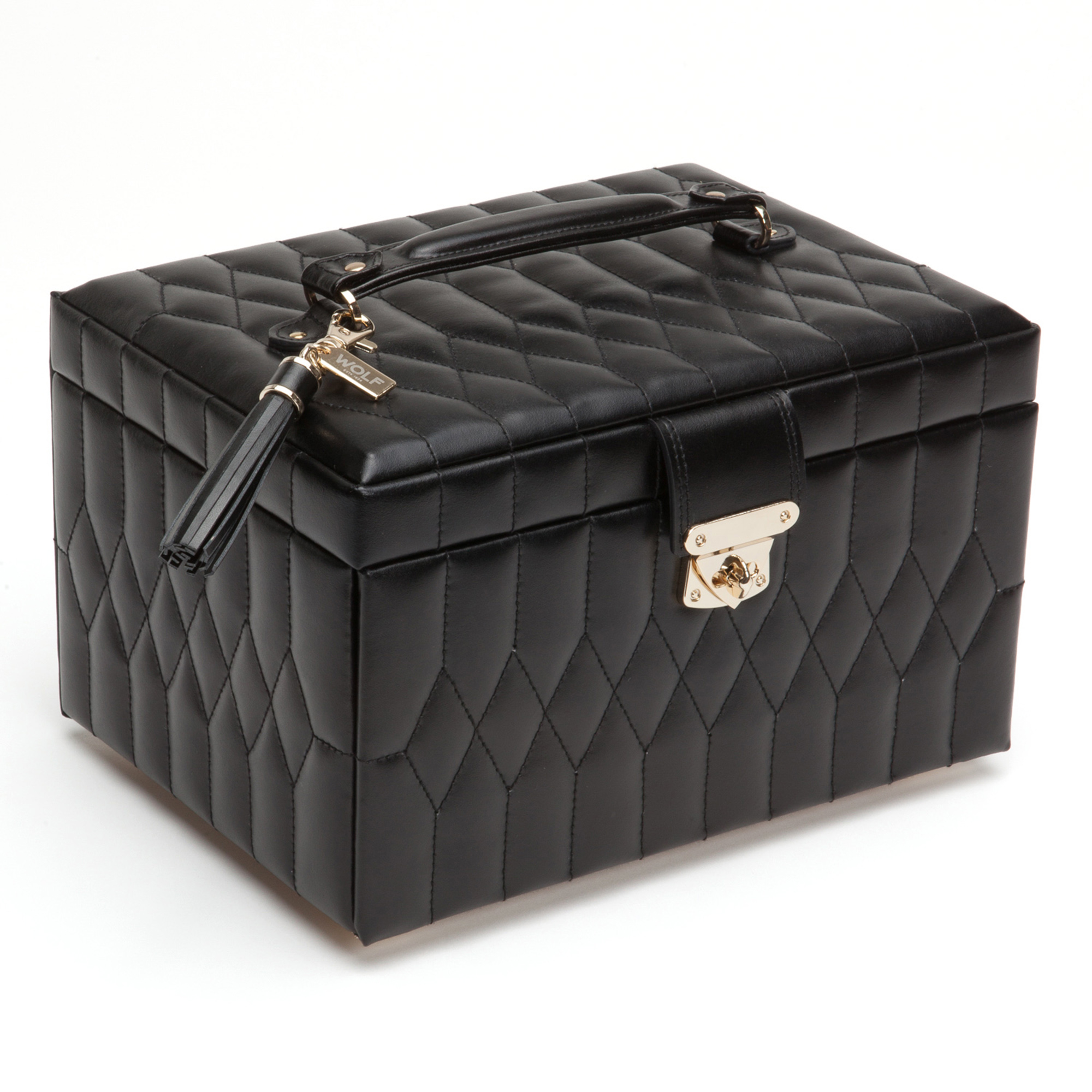 Wolf Caroline Medium Jewelry Box, Black