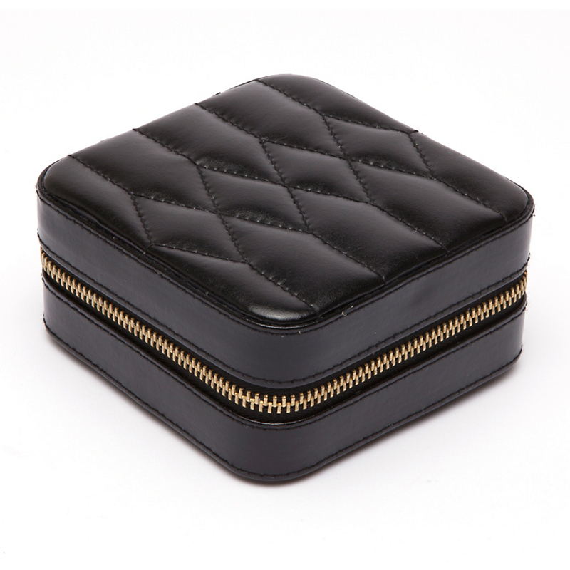 Quilted Travel Jewelry Case, Black