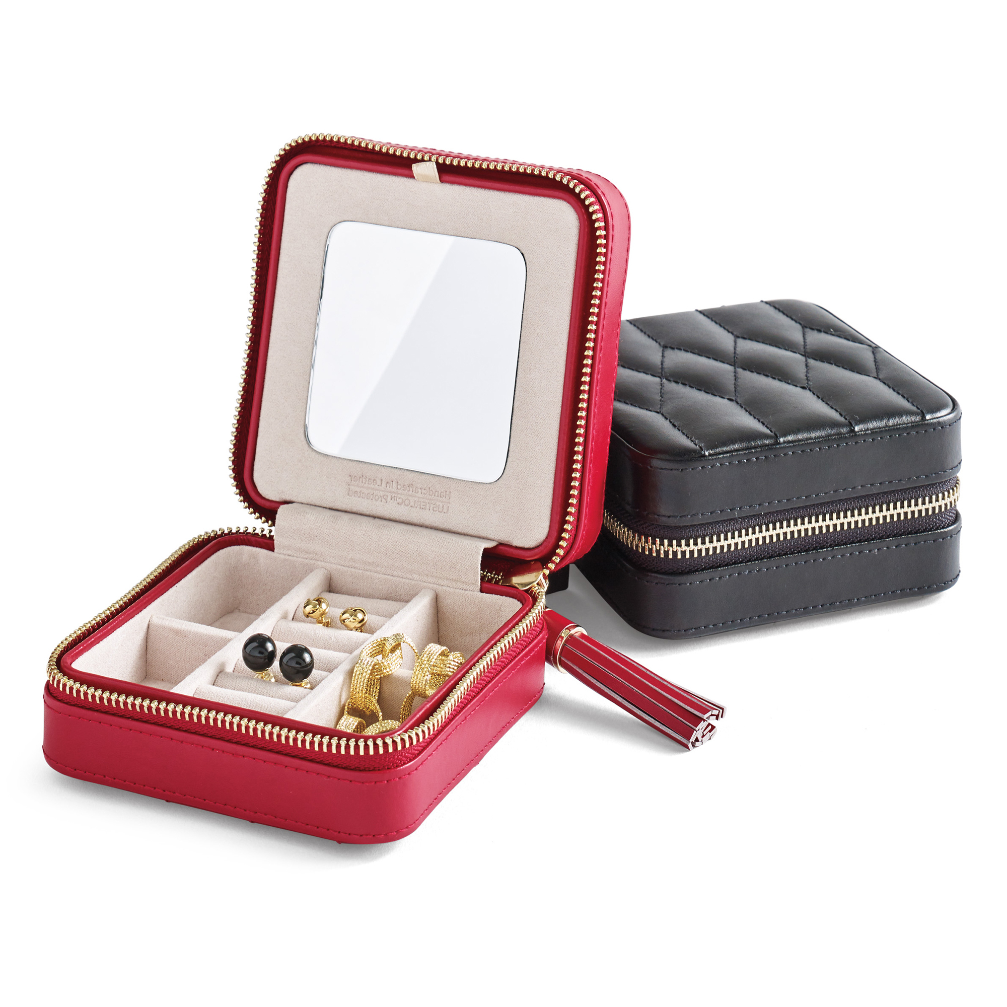 Quilted Travel Jewelry Case, Red