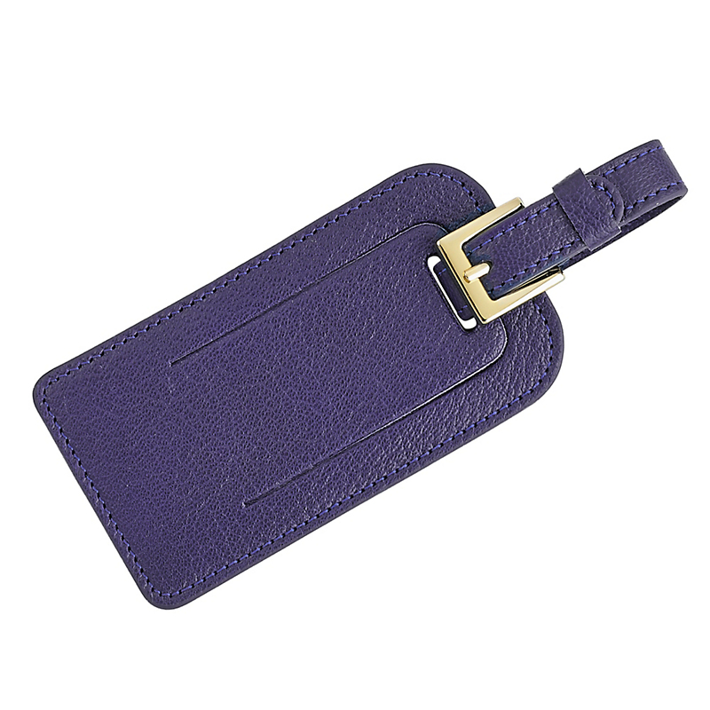 Leather Luggage Tag, Indigo