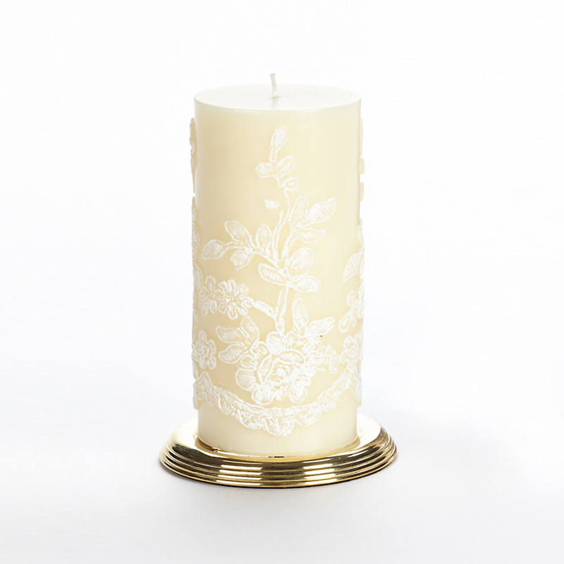 Et Al Designs Lace Pillar Candle, White